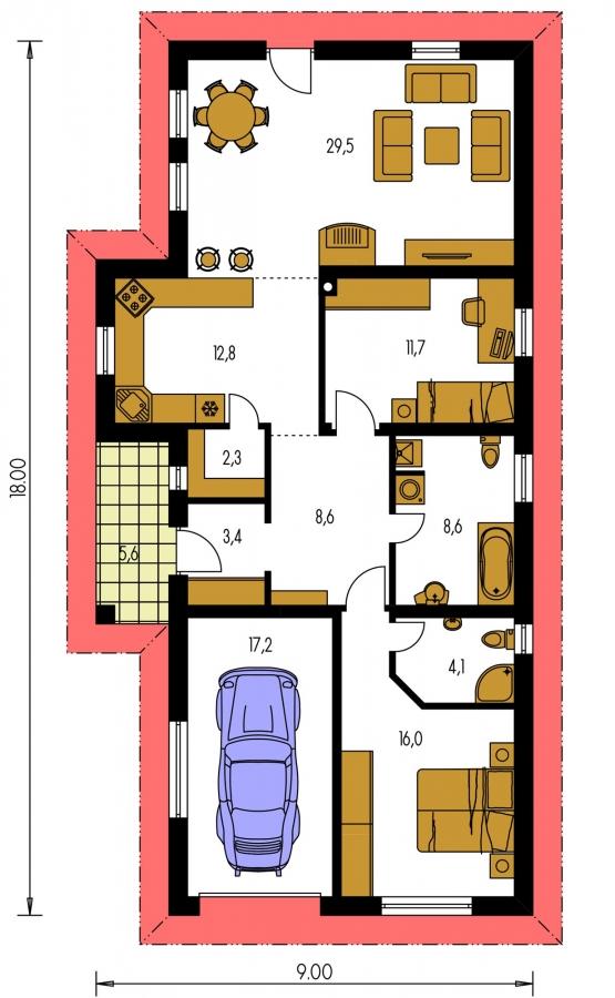 Pôdorys Prízemia - Projekt domu na úzky a dlhý pozemok s garážou.