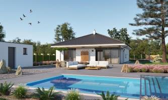 Moderný projekt rodinného domu s valbovou strechou, novinka 2019, menšia izba je vhodná ako pracovňa alebo šatník