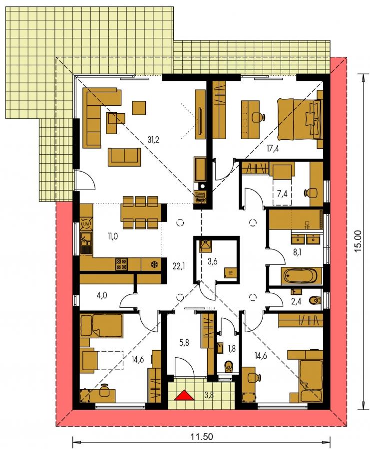 Pôdorys Prízemia - Moderný projekt rodinného domu s valbovou strechou. Novinka 2019. Menšia izba je vhodná ako pracovňa alebo  šatník.