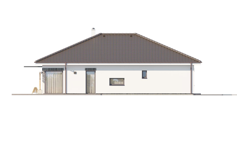 Pohľad 4. - Moderný projekt rodinného domu s valbovou strechou. Novinka 2019. Menšia izba je vhodná ako pracovňa alebo  šatník.