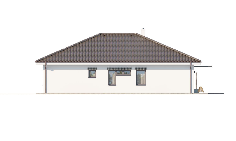Pohľad 2. - Moderný projekt rodinného domu s valbovou strechou. Novinka 2019. Menšia izba je vhodná ako pracovňa alebo  šatník.
