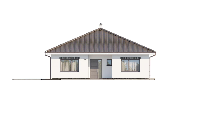 Pohľad 1. - Moderný projekt rodinného domu s valbovou strechou. Novinka 2019. Menšia izba je vhodná ako pracovňa alebo  šatník.