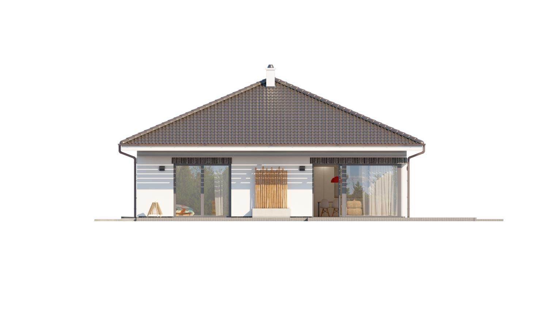 Pohľad 3. - Moderný projekt rodinného domu s valbovou strechou. Novinka 2019. Menšia izba je vhodná ako pracovňa alebo  šatník.