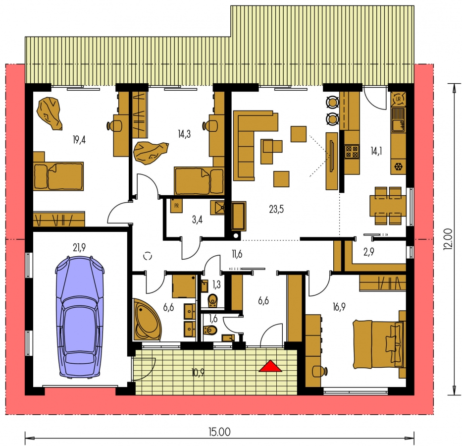 Pôdorys Prízemia - Moderný bungalov s garážou a s izbami orientovanými do záhrady