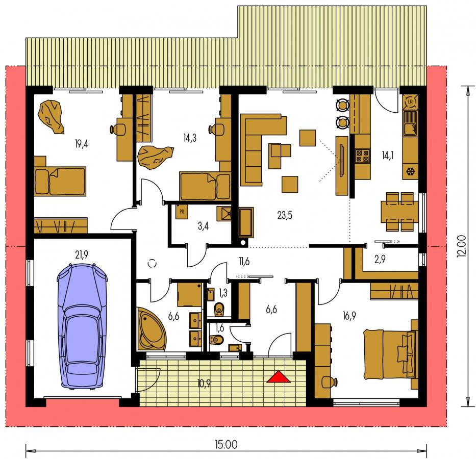 Pôdorys Prízemia - Moderný bungalov s garážou v tvare U, sedlovou strechou a s izbami orientovanými do záhrady.