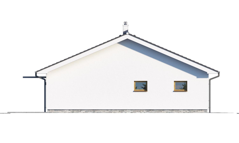 Pohľad 4. - Moderný bungalov s garážou v tvare U, sedlovou strechou a s izbami orientovanými do záhrady.
