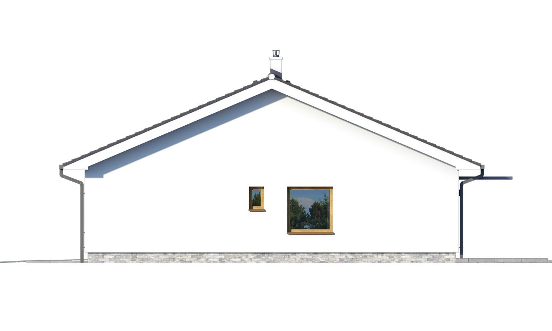 Pohľad 2. - Moderný bungalov s garážou v tvare U, sedlovou strechou a s izbami orientovanými do záhrady.