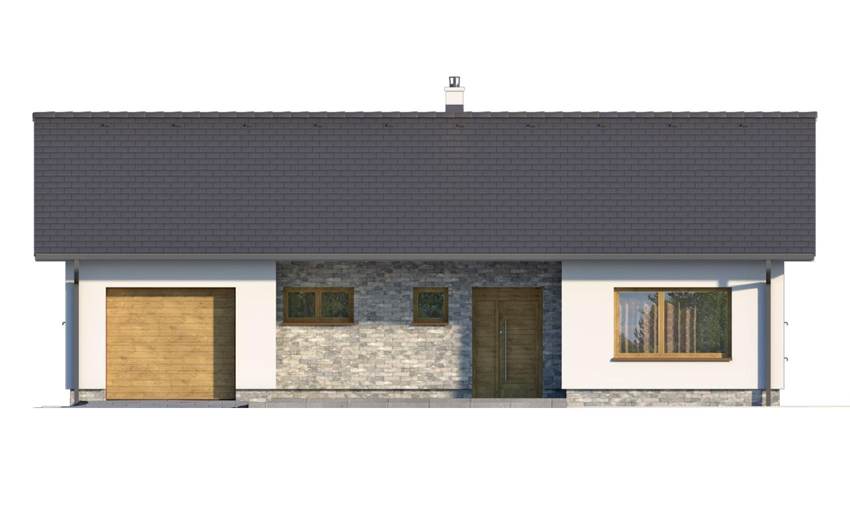 Pohľad 1. - Moderný bungalov s garážou v tvare U, sedlovou strechou a s izbami orientovanými do záhrady.