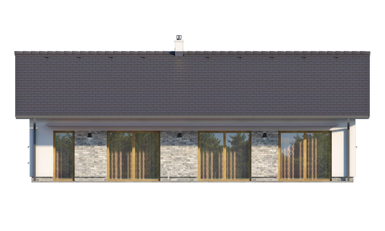 Pohľad 3. - Moderný bungalov s garážou v tvare U, sedlovou strechou a s izbami orientovanými do záhrady.