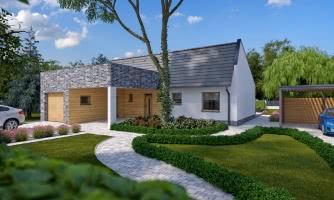 Moderný rodinný dom s garážou pre 4 až 5 člennú rodinku. Možnosť zmeniť tvar strechy, prípadne realizovať dom bez garáže. Vhodný aj ako dvojdom.