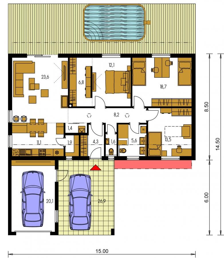 Pôdorys Prízemia - Moderný rodinný dom s garážou pre 4 až 5 člennú rodinku. Možnosť zmeniť tvar strechy, prípadne realizovať dom bez garáže. Vhodný aj ako dvojdom.