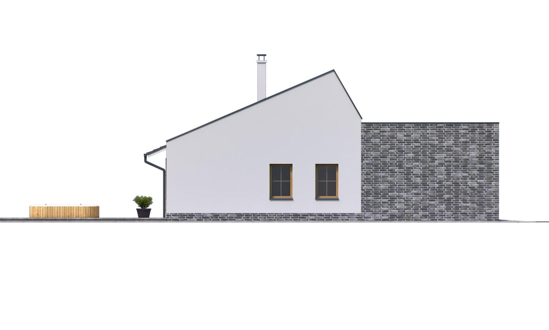 Pohľad 4. - Moderný rodinný dom s garážou pre 4 až 5 člennú rodinku. Možnosť zmeniť tvar strechy, prípadne realizovať dom bez garáže. Vhodný aj ako dvojdom.