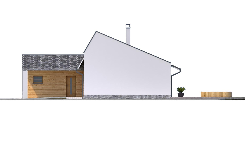 Pohľad 2. - Moderný rodinný dom s garážou pre 4 až 5 člennú rodinku. Možnosť zmeniť tvar strechy, prípadne realizovať dom bez garáže. Vhodný aj ako dvojdom.