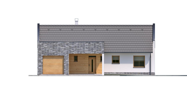 Pohľad 1. - Moderný rodinný dom s garážou pre 4 až 5 člennú rodinku. Možnosť zmeniť tvar strechy, prípadne realizovať dom bez garáže. Vhodný aj ako dvojdom.
