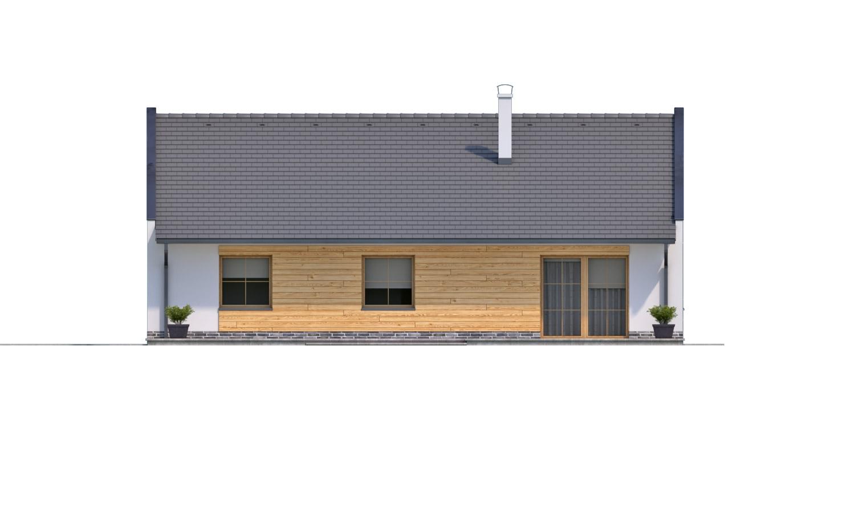 Pohľad 3. - Moderný rodinný dom s garážou pre 4 až 5 člennú rodinku. Možnosť zmeniť tvar strechy, prípadne realizovať dom bez garáže. Vhodný aj ako dvojdom.