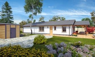 Prízemný 5-izbový rodinný dom vhodný aj na úzky pozemok.