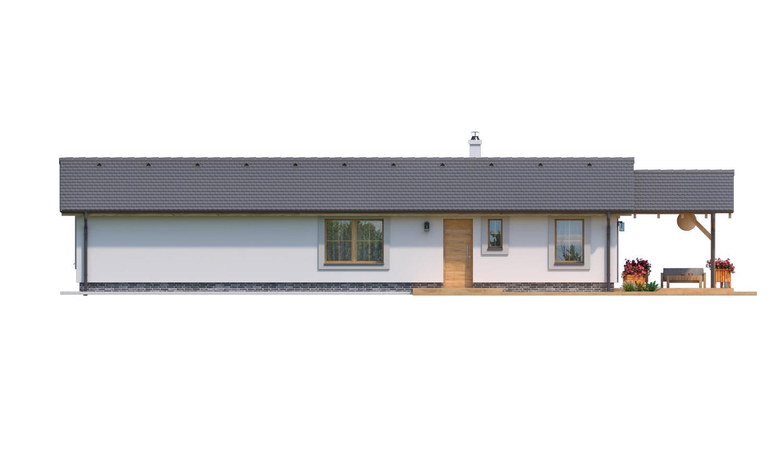 Pohľad 1. - Prízemný 5-izbový rodinný dom vhodný aj na úzky pozemok.