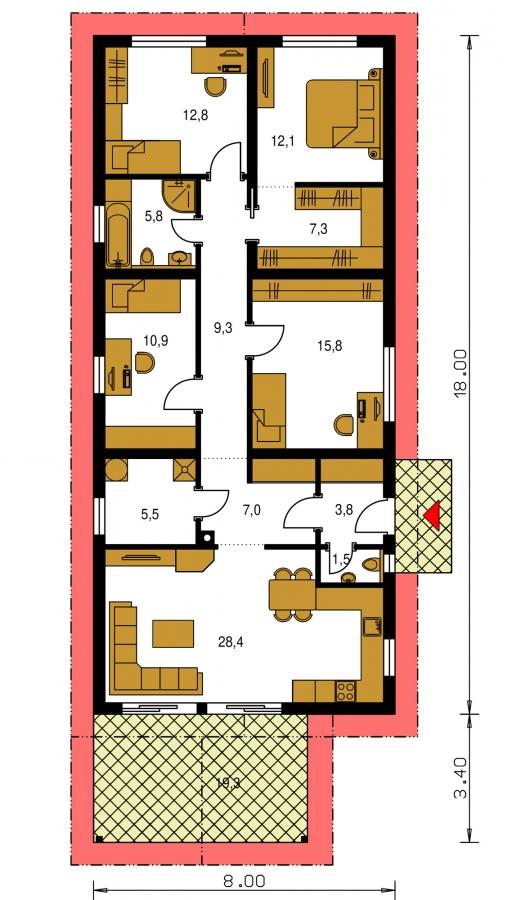 Pôdorys Prízemia - Prízemný 5-izbový rodinný dom vhodný aj na úzky pozemok.