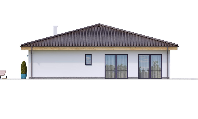 Pohľad 4. - Projekt prízemného 4-izbového rodinného domu s krytým státím pre dve autá.