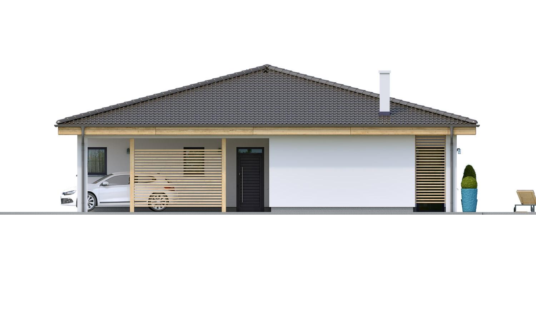 Pohľad 2. - Projekt prízemného 4-izbového rodinného domu s krytým státím pre dve autá.
