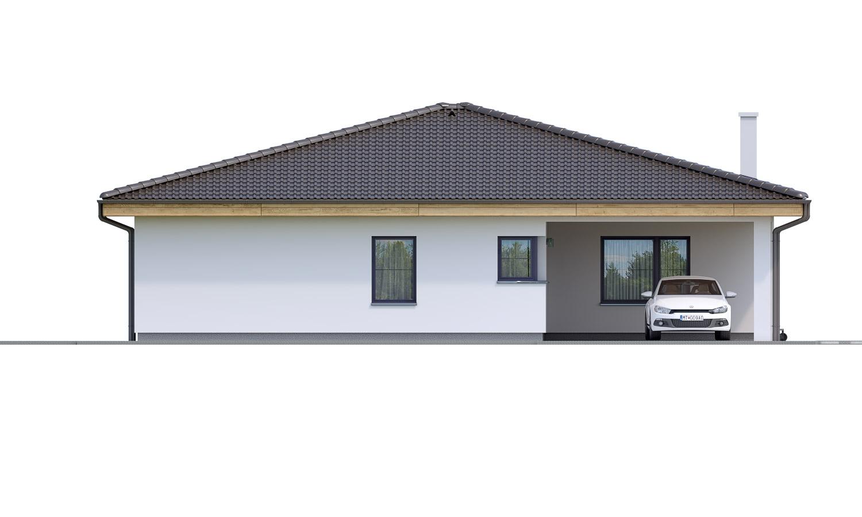 Pohľad 1. - Projekt prízemného 4-izbového rodinného domu s krytým státím pre dve autá.
