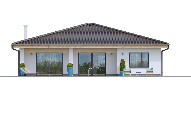 Pohľad 3. - Projekt prízemného 4-izbového rodinného domu s krytým státím pre dve autá.