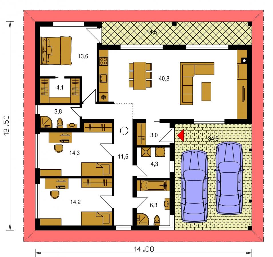 Pôdorys Prízemia - Projekt prízemného 4-izbového rodinného domu s krytým státím pre dve autá.