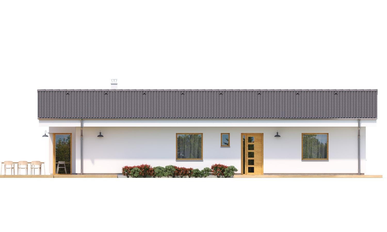 Pohľad 1. - Jednoduchý bungalov na úzky pozemok.