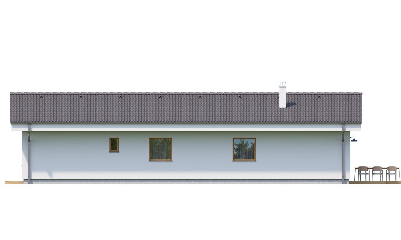 Pohľad 3. - Jednoduchý bungalov na úzky pozemok.