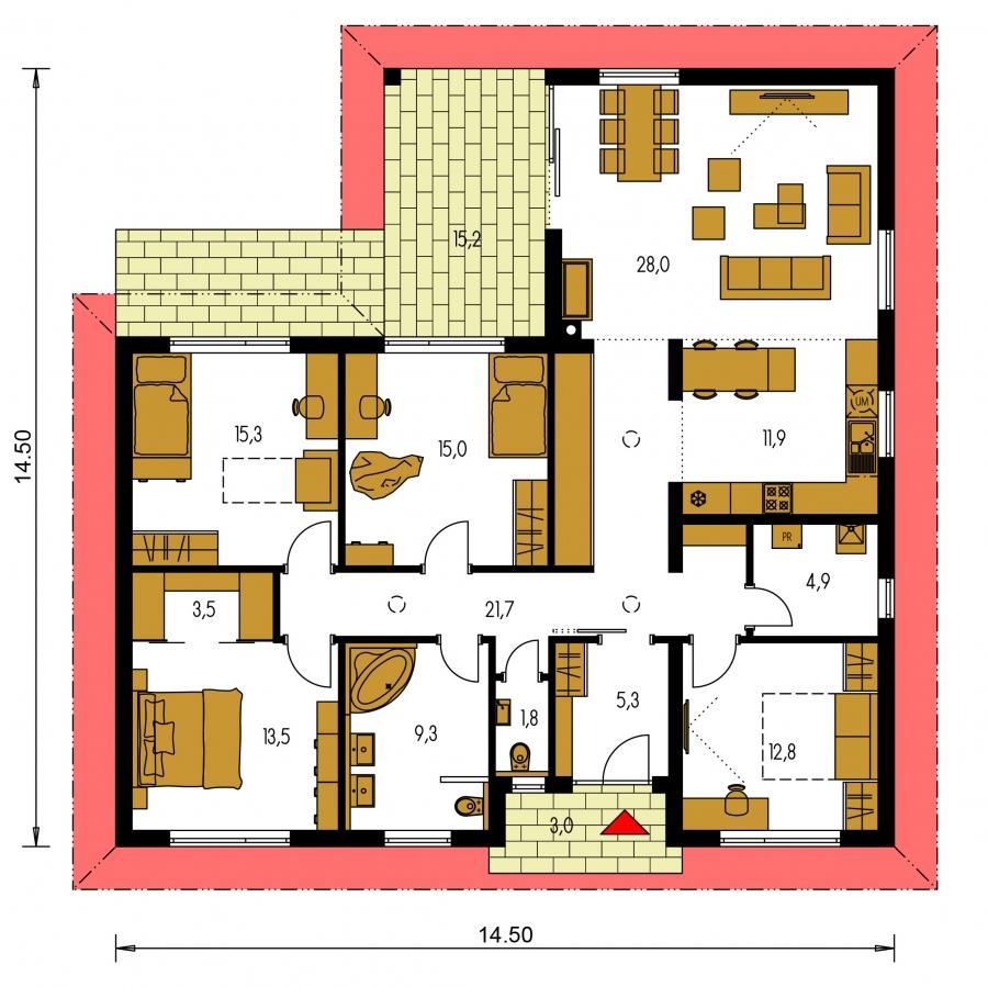 Pôdorys Prízemia - Krásny 5-izbový bungalov do tvaru L s prekrytou terasou.