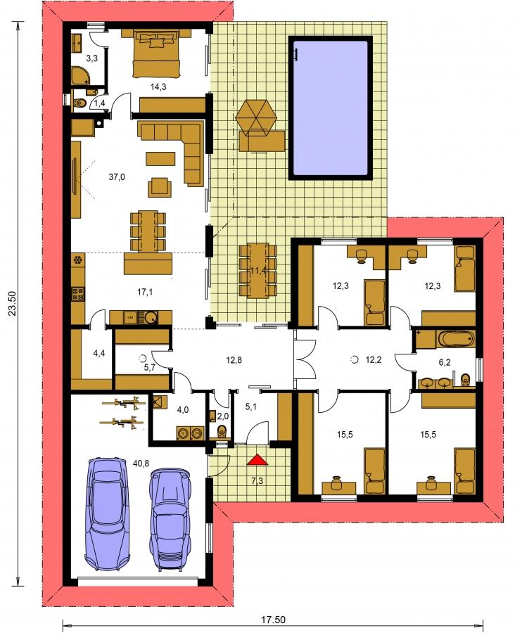 Pôdorys Prízemia - 6 - izbový prízemný dom, do tvaru L, s terasou, ktorá sa dá po malých úpravách využívať celoročne.