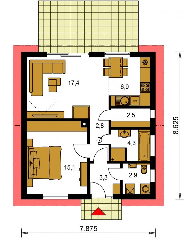 Pôdorys Prízemia - Malý dvojizbový rodinný domček vhodný aj ako rekreačný dom. Jednoduchý a lacný na výstavbu.