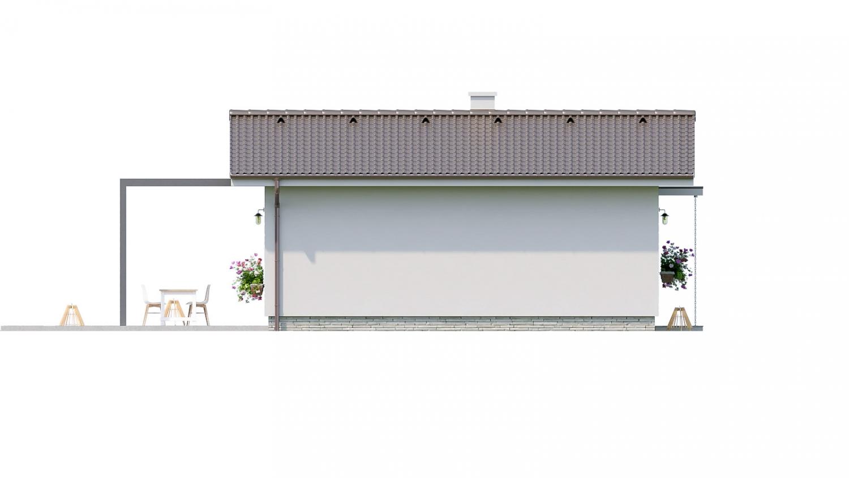 Pohľad 4. - Jednoduchý dvojizbový bungalov. Obývacia izba je spojená s kuchyňou.