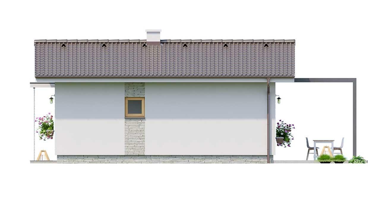 Pohľad 2. - Jednoduchý dvojizbový bungalov. Obývacia izba je spojená s kuchyňou.