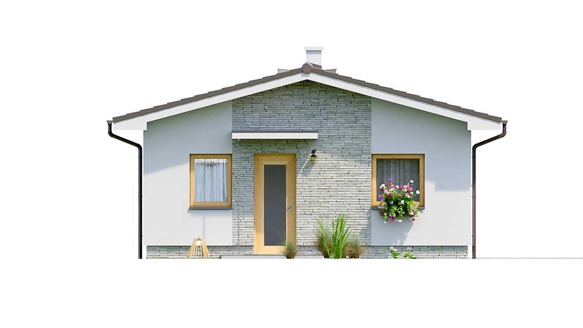 Pohľad 1. - Jednoduchý dvojizbový bungalov. Obývacia izba je spojená s kuchyňou.