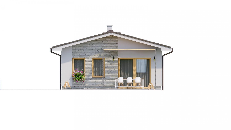 Pohľad 3. - Jednoduchý dvojizbový bungalov. Obývacia izba je spojená s kuchyňou.