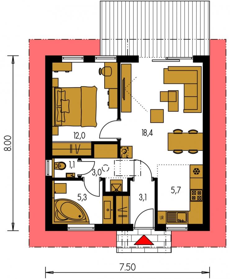 Pôdorys Prízemia - Jednoduchý dvojizbový bungalov. Obývacia izba je spojená s kuchyňou.