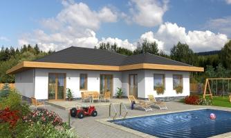 Dom do L s dvojgarážou a s valbovou strechou. Možnosť zrealizovať plochú strechu.