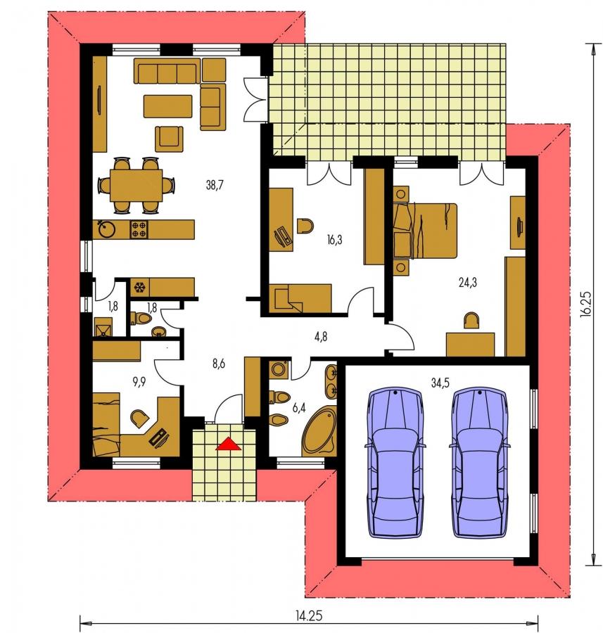 Pôdorys Prízemia - Dom do L s dvojgarážou a s valbovou strechou. Možnosť zrealizovať plochú strechu.