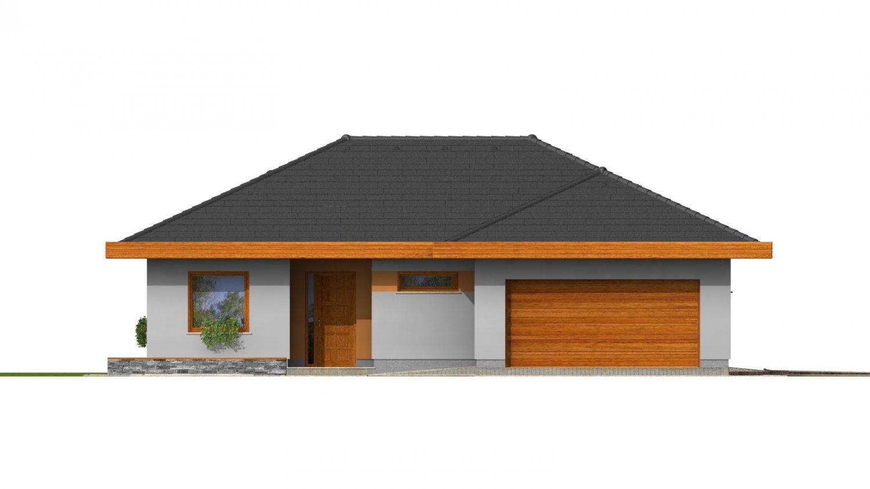 Pohľad 1. - Dom do L s dvojgarážou a s valbovou strechou. Možnosť zrealizovať plochú strechu.
