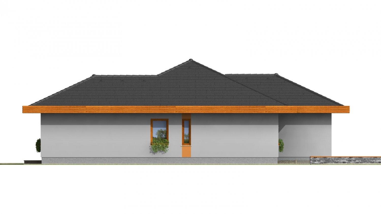 Pohľad 2. - Dom do L s dvojgarážou a s valbovou strechou. Možnosť zrealizovať plochú strechu.