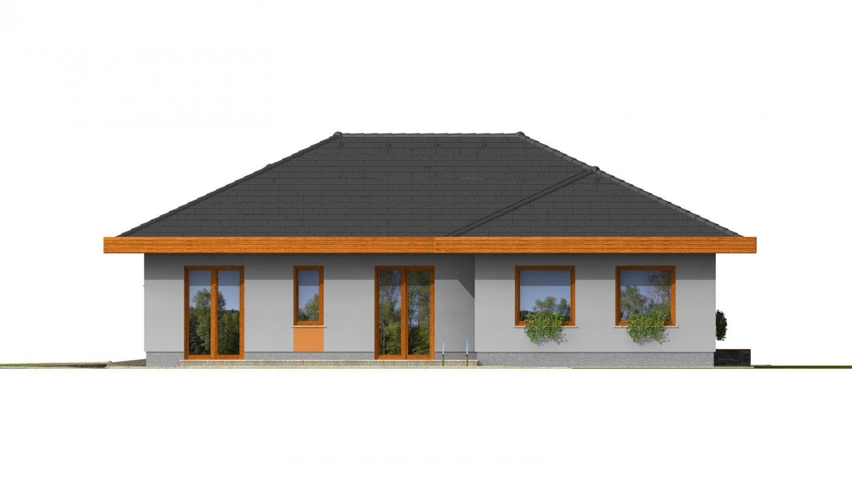 Pohľad 3. - Dom do L s dvojgarážou a s valbovou strechou. Možnosť zrealizovať plochú strechu.