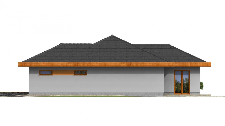 Pohľad 4. - Dom do L s dvojgarážou a s valbovou strechou. Možnosť zrealizovať plochú strechu.