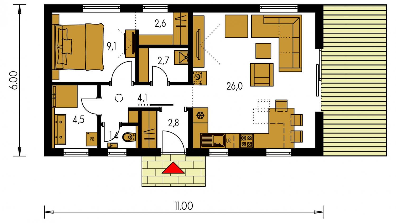 Pôdorys Prízemia - Ekonomický rodinný domček pre 2 člennú rodinu.