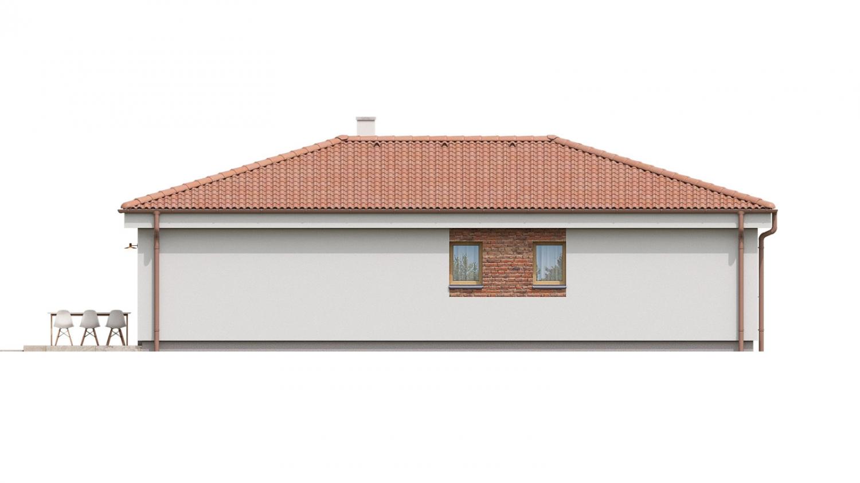 Pohľad 4. - 4 izbový bungalov do tvaru L s dominantným krbom.