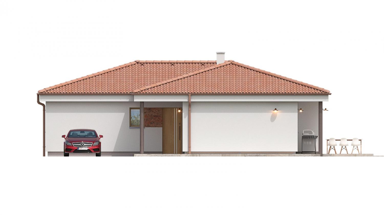 Pohľad 2. - 4 izbový bungalov do tvaru L s dominantným krbom.