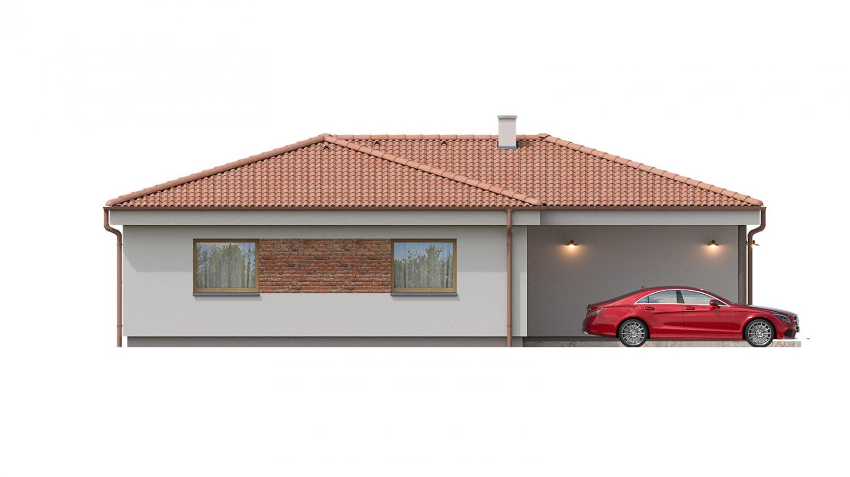Pohľad 1. - 4 izbový bungalov do tvaru L s dominantným krbom.