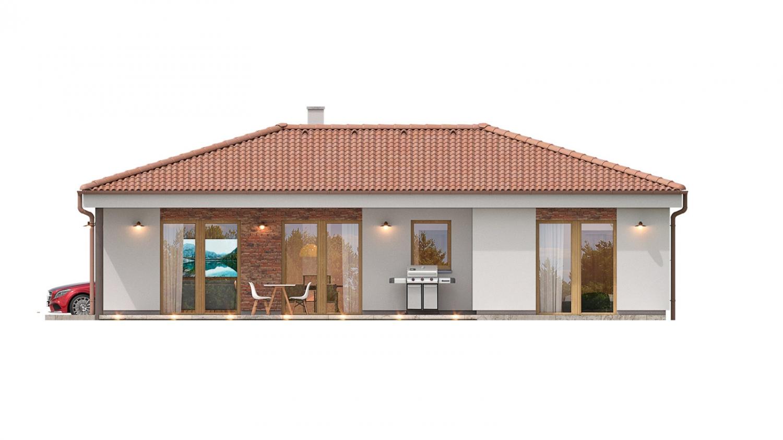 Pohľad 3. - 4 izbový bungalov do tvaru L s dominantným krbom.