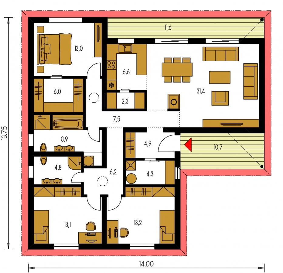 Pôdorys Prízemia - 4 izbový bungalov do tvaru L s dominantným krbom.