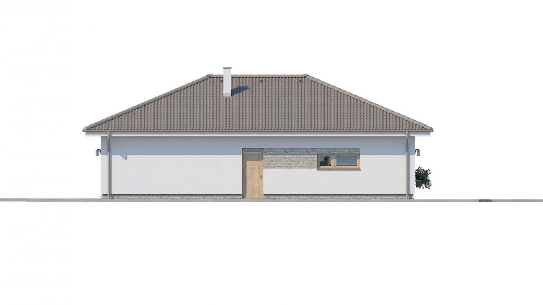 Pohľad 4. - Prízemný rodinný dom s garážou v tvare L.